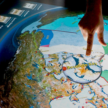 Visitors explore Arctic Choices with a multitouch, multi-user mapping exhibit