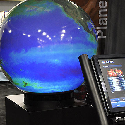 NASA exhibit shows visitors global images on a spherical display