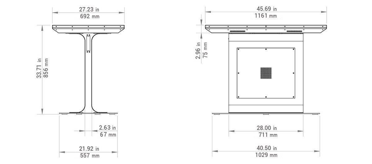 Platform Multitouch Table Dimensions