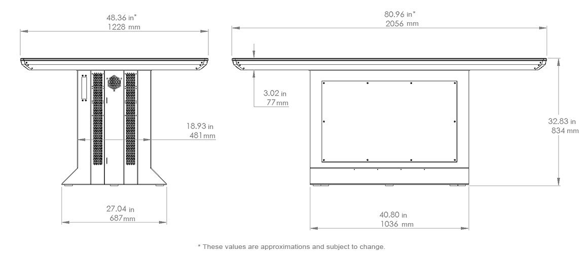 Colossus Multitouch Table Dimensions