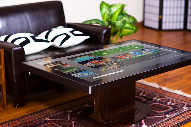 "55"" multitouch coffee table with wood grain"